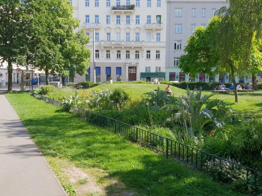 Fußläufig vom Mauthaus Schönbrunn-Ferienappartement - Pop-Up Shop der Bruno Kreisky Park